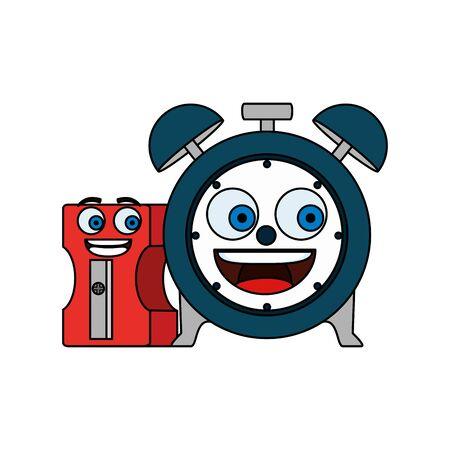 alarm clock and sharpener comic characters vector illustration design