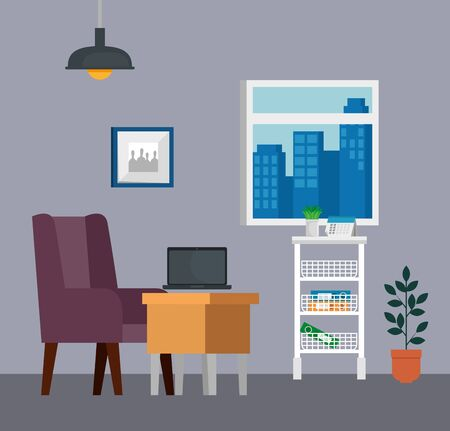 laptop technology in the desk with chair and books in the business office, vector illustration