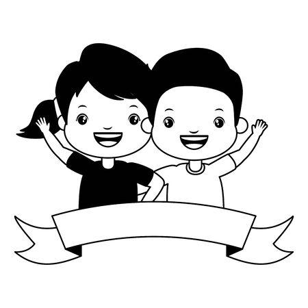 happy boy and girl ribbon kids vector illustration Standard-Bild - 129315868