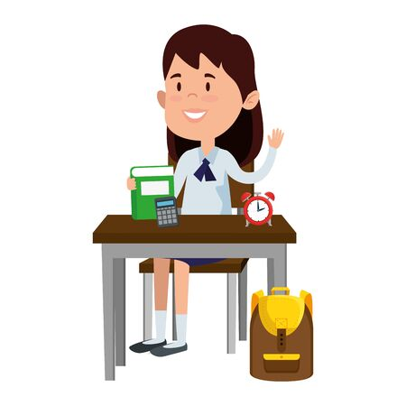 happy student girl with supplies seated in school desk vector illustration design