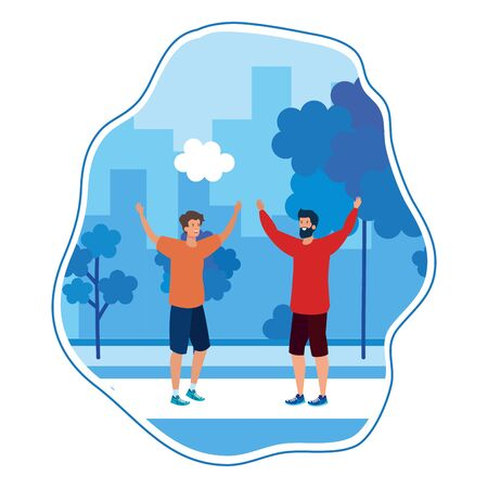 happy young men friends celebrating in the park vector illustration design