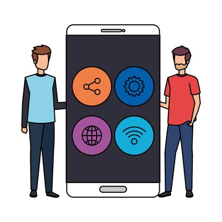 young men with smartphone and social media menu vector illustration design 写真素材 - 129377189