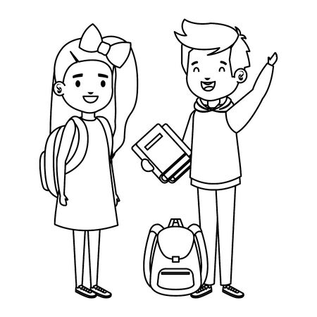 happy little students couple characters vector illustration design 일러스트
