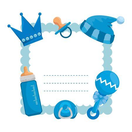 baby shower card with milk bottle and hat vector illustration design