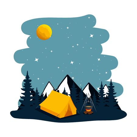 camping zone with tent and campfire at night scene vector illustration Banque d'images - 129377194