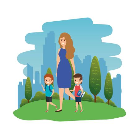 happy students boys with female teacher in the landscape vector illustration