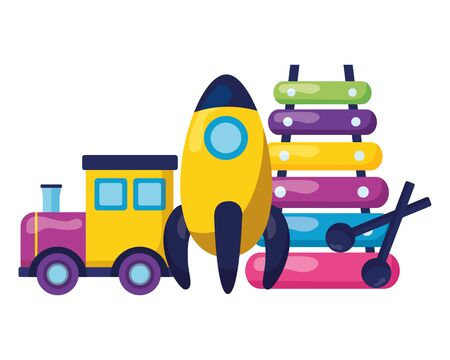 baby toys train rocket xylophone design vector illustration 向量圖像