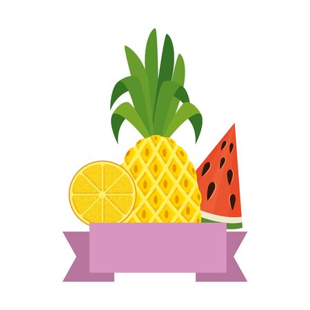summer frame with tropical and fresh fruits vector illustration design 版權商用圖片 - 129382970