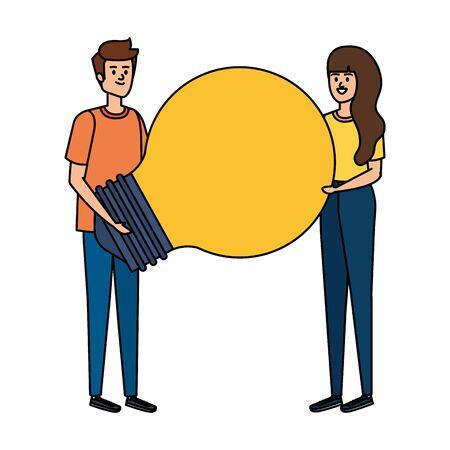 young couple lifting bulb light vector illustration design Ilustração