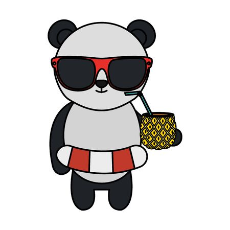 cute bear panda with float and pineapple cocktail vector illustration design