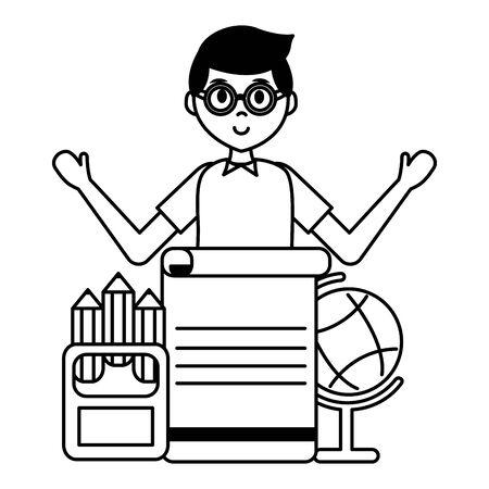 student school globe pencils paper teachers day vector illustration