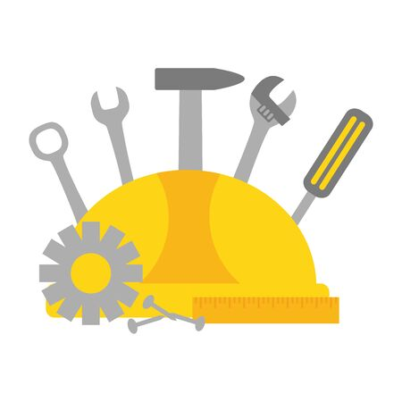helmet screwdriver hammer screw gear construction tools vector illustration Stock Illustratie