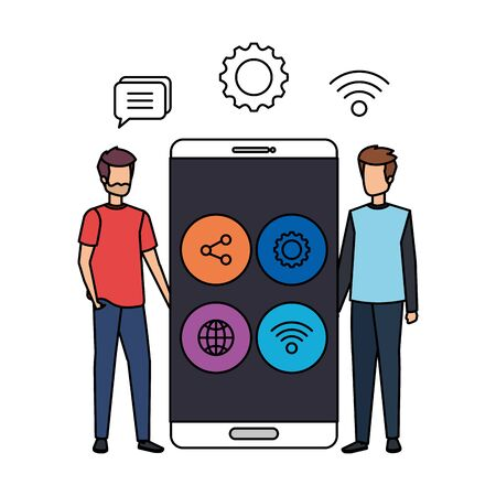 young men with smartphone and social media menu vector illustration design Stock Illustratie