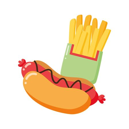 hot dog and french fries on white background vector illustration Stock Illustratie