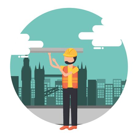 worker construction tool city background vector illustration 일러스트