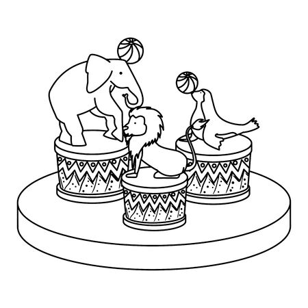 circus animals playing with balloons in steps vector illustration design
