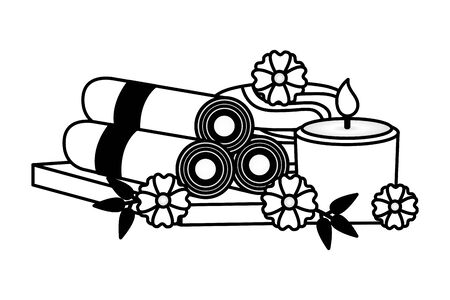 towels candle stones flowers spa treatment therapy vector illustration