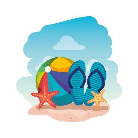 beach balloon with flip flops and starfish vector illustration design