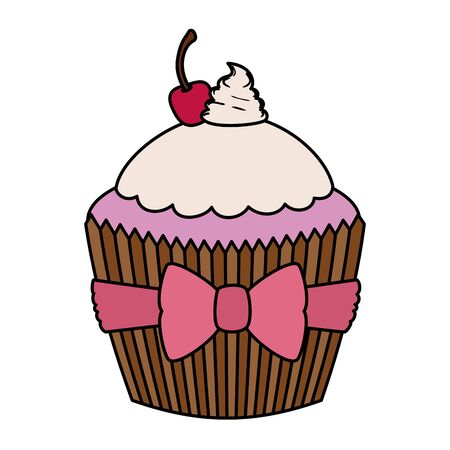 sweet delicious cupcake pastry icon vector illustration design