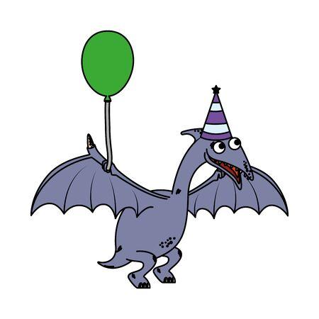 cute Pterodactyl with balloon helium vector illustration design
