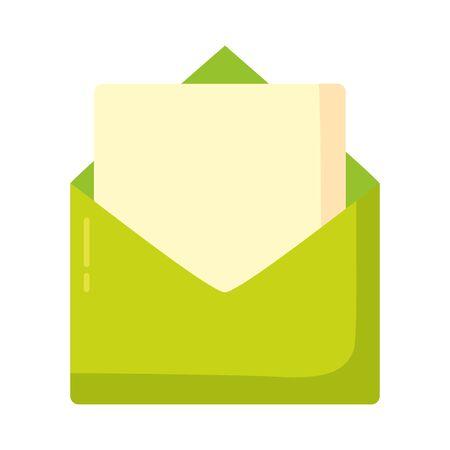 green email envelope message social media vector illustration
