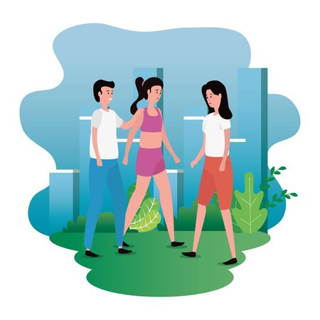 group of people on the park characters vector illustration design Ilustracja
