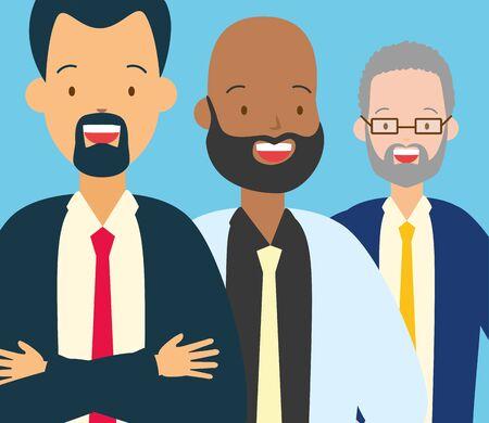 diversity man person three male vector illustration