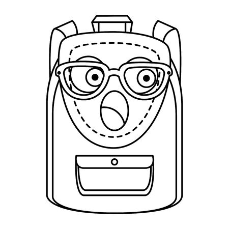school bag supply  comic character icon vector illustration design