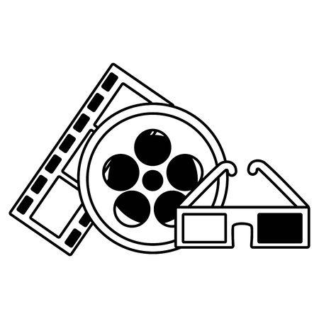 cinema movie reel film strip 3d glasses vector illustration