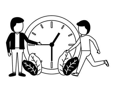 businessmen clock time on white background Ilustrace