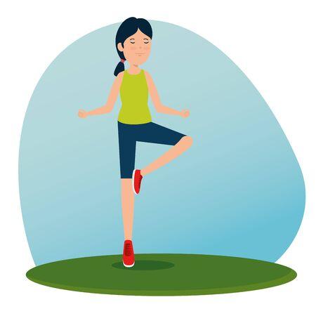 girl practice yoga healthy activity to summer sport vector illustration  イラスト・ベクター素材