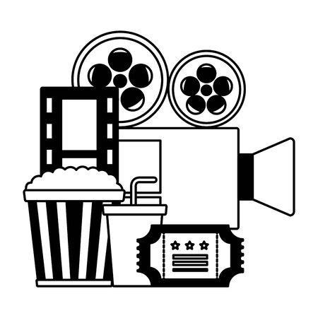 projector pop corn soda ticket cinema movie vector illustration Illustration