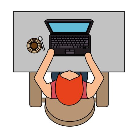 businesswoman using laptop in the workplace airview vector illustration design