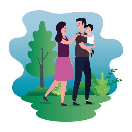 parents couple with little son on the park characters vector illustration design Foto de archivo - 129418061