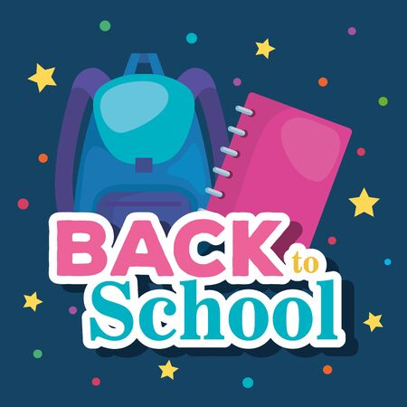 backpack with notebook education supplies to lern over blue background vector illustration 向量圖像