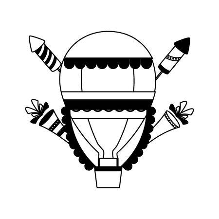 carnival hot air balloon fireworks vector illustration design Stock Illustratie