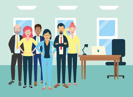 diversity men and women characters in the office vector illustration Çizim