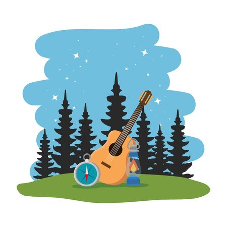 camping zone with guitar and compass scene vector illustration design Çizim