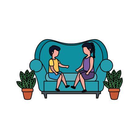 little kids couple seated in sofa vector illustration design Ilustracja