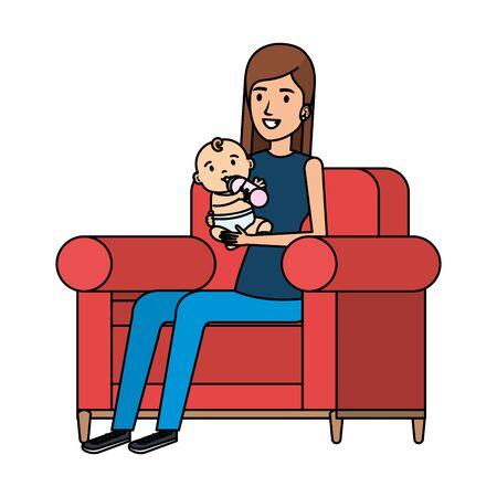 mother lifting little baby seated in sofa vector illustration design Standard-Bild - 129419829