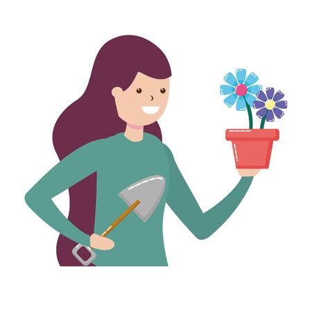 woman shovel soil gardening hobby vector illustration