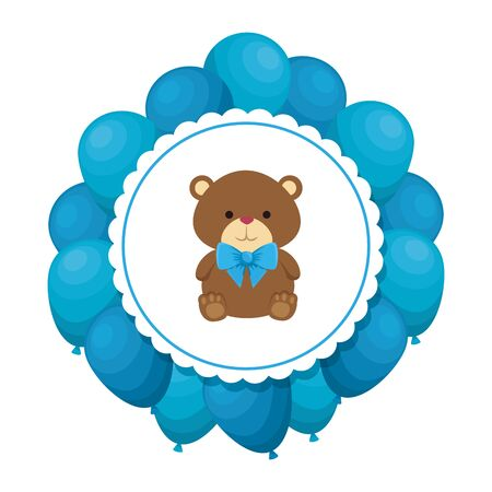 cutte little bear teddy with bowtie and balloons helium vector illustration design