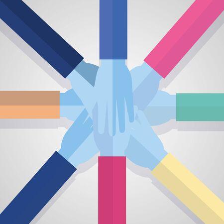 L'unité des mains de l'équipe communautaire de conception d'illustration vectorielle
