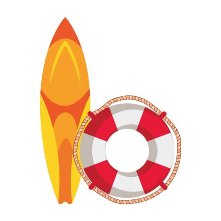 surf board sport with float lifeguard vector illustration design
