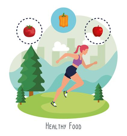 woman practice sport with pepper and apple with tomato to healthy food, vector illustration Çizim