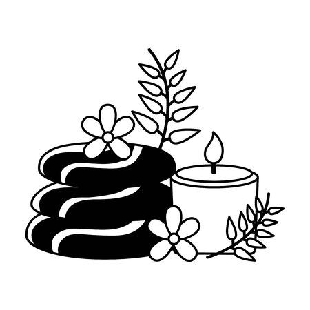 stones candle leaves spa treatment therapy vector illustration Stock Illustratie
