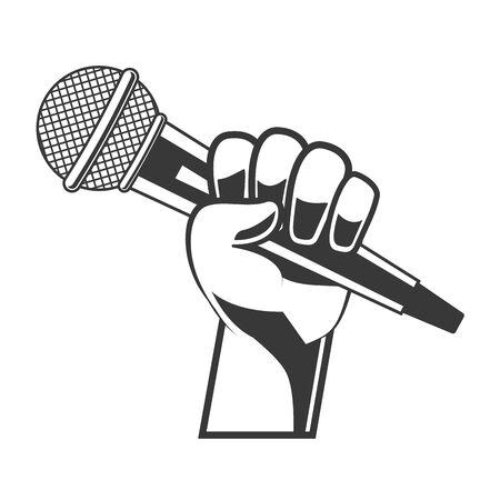 hand with microphone karaoke musical vector illustration Иллюстрация