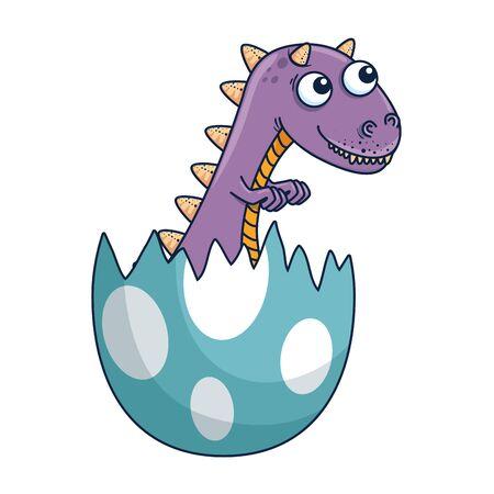 cute newborn tyrannosaurus rex breaking shell vector illustration design