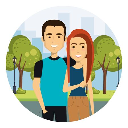 young lovers couple in the camp characters vector illustration design Standard-Bild - 129420025