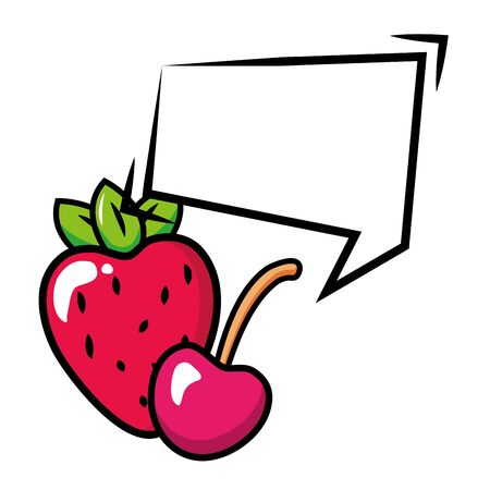 strawberry and cherry speech bubble pop art elements vector illustration 向量圖像